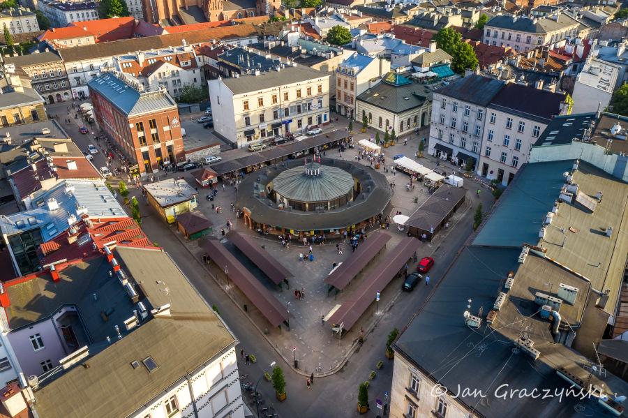 Plac Nowy na Krakowskim Kazimierzu w Krakowie z lotu ptaka
